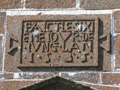 Chapelle Notre-Dame de Vassivière - English: Plaque above the entrance of the chapel of Notre-Dame de Vassivière (Puy-de-Dôme, France). The text in French is