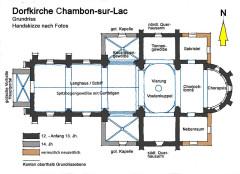 Eglise Saint-Etienne - Deutsch: Dorfkirche Chambon-sur-Lac,Grundriss, Handskizze von Fotos