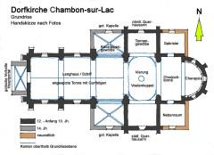 Eglise Saint-Etienne - Deutsch: Dorfkirche_Chambon-sur-Lac, Grfundriss, Handskizze