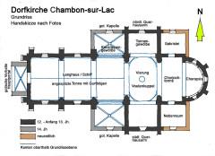 Eglise Saint-Etienne - Deutsch: Dorfkirche Chambon-sur-Lac, Grundriss, Handskizze