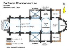 Eglise Saint-Etienne - Deutsch: Dorfkirche Chambon-sur-Lac, Grundriss, Handskizze nach Fotos