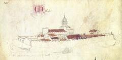 Eglise abbatiale Saint-Pierre - Français:   L\'abbaye de Mozac, vue du sud-ouest, dessinée vers 1450 par Guillaume Revel pour son Armorial d\'Auvergne.