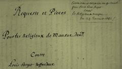 Eglise abbatiale Saint-Pierre - Français:   Document d\'archive (extrait) qui montre l\'écriture \