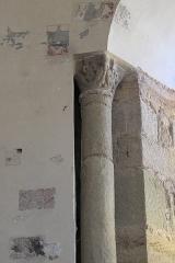 Eglise Sainte-Agathe - Deutsch:   Katholische Pfarrkirche Sainte-Croix, auch Sainte-Agathe, in Ris im Département Puy-de-Dôme (Auvergne-Rhône-Alpes), Säule mit Kapitell