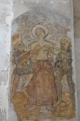 Eglise Sainte-Agathe - Deutsch:   Katholische Pfarrkirche Sainte-Croix, auch Sainte-Agathe, in Ris im Département Puy-de-Dôme (Auvergne-Rhône-Alpes), Wandmalerei, heilige Agatha