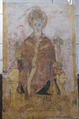 Eglise Sainte-Agathe - Deutsch:   Katholische Pfarrkirche Sainte-Croix, auch Sainte-Agathe, in Ris im Département Puy-de-Dôme (Auvergne-Rhône-Alpes), Wandmalerei, Apostel Petrus