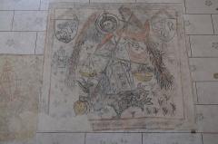 Eglise Sainte-Agathe - Deutsch:   Katholische Pfarrkirche Sainte-Croix, auch Sainte-Agathe, in Ris im Département Puy-de-Dôme (Auvergne-Rhône-Alpes), Wandmalerei, Erzengel Michael