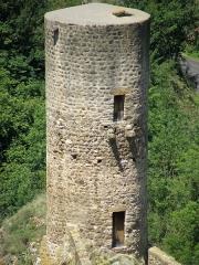 Immeuble dit château de Saint-Floret ou Vieux Château - Français:   Saint-Floret, comm. du Puy-de-Dôme (Auvergne, France). Donjon du château, vu depuis la falaise du Chastel (nous regardons vers le nord).