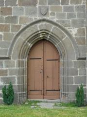 Eglise Saint-Victor - Français:   Portail de l\'église Saint-Victor, Saint-Victor-la-Rivière, Puy-de-Dôme, France.