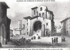 Eglise Saint-Genès - Français:   L\'église Saint-Genès de Thiers en 1848 (façade occidentale)