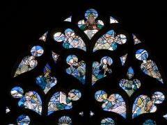Eglise Saint-Pierre - Vic-le-Comte - Sainte-Chapelle - Vitrail Central - Dieu le Père et concert des anges