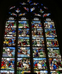 Eglise Saint-Pierre - Vic-le-Comte - Sainte-Chapelle - Vitrail nord - Scène de l'Ancien Testament annonçant la Passion du Christ