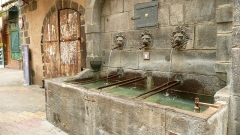 Fontaine des Lions - English: A very old fountain providing drinking water (indicated by a cup icon below the middle lion's head).