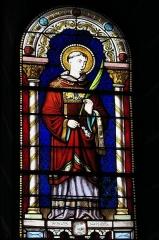 Eglise Saint-Pierre - Deutsch: Katholische Kirche Saint-Pierre in Cistrières im Département Haute-Loire (Auvergne-Rhône-Alpes/Frankreich), Bleiglasfenster; Darstellung: Heiliger Stephanus