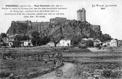 Ruines du château fort -  Carte postale montrant le rocher et les ruines du château-fort de Polignac en Haute-Loire (France) / Postcard showing the rock and ruins of the fortified castle of Polignac, Haute-Loire, in France