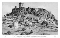 Ruines du château fort -  Sur la carte: Environs du Puy. - Le château de Polignac (Côté Méridional). / The card says: Near Le Puy. - The Castle at Polignac (Southern side).