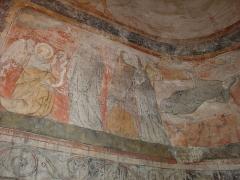 Eglise Saint-Martin -  Fresque représentant la vie de la Vierge. Église de Polignac (Haute-Loire, France).
