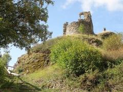 Château d'Artias - Français:   Retournac, dép. de la Haute-Loire, France (Auvergne). Château ruiné d'Artias, perché sur un suc de 706m. d'altitude, situé le long de la Loire à quelques km. en amont (et donc à l'ouest) de Retournac. Vue de la chapelle castrale. Regard tourné vers le sud.