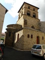 Eglise Saint-Jean-Baptiste - Français:   Retournac, dép. de la Haute-Loire, France (Auvergne). Église Saint-Jean-Baptiste, choeur et clocher.