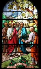 Eglise Saint-Barthélémy -  Saint-Geneys-près-Saint-Paulien, dép. de Haute-Loire, France (Auvergne). Église romane, vitrail.