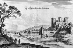 Château - Deutsch: Kupferstich mit einer Ansicht der Burg von Bourbon-l'Archambault aus der Topographia Galliae