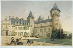 Château de Busset - Deutsch: Kolorierte Lithografie des Schlosses Busset
