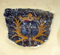 Eglise Saint-Pierre - Deutsch: Châtelperron (Frankreich) - Kirche - Fragment eines Trauerbandes mit dem Wappen der Charry des Gouttes