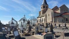 Eglise Sainte-Radegonde -  Cimetiere de Cognat et église de Sainte-Radegonde.
