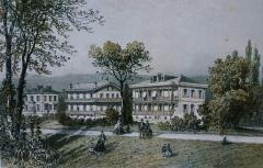 Anciens chalets de l'Empereur et de l'Impératrice -  Résidence de Sa Majesté l'Empereur à Vichy dans le nouveau parc, gravure par Hubert Clergé, 1863