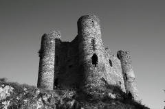 """Restes du château fort - The Château d'Alleuze is a ruined castle situated in the commune of Alleuze, in the Cantal département of France.  Built in the 13th century by the constables of Auvergne, it belonged to the bishops of Clermont. During the Hundred Years War it was seized for the English by Bernard de Garlan. For seven years, he sowed terror throughout the region, pillaging and holding to ransom. To avoid troubles from any Garlan successors, the inhabitants of Saint-Flour burned down the castle in 1405. Monseigneur De la Tour, owner of the castle, was very upset with this gesture, and obliged the Sanflorains to rebuild it on the original plan. It was taken by Huguenots in 1575. The towers were used as jails by the bishops of Clermont.  The castle is built on a square plan, with round towers in each corner, characteristic of the 14th century. It includes a chapel, Saint-Illide, built in the 13th and 15th centuries.  Today, the edifice is maintained as a ruin and has been listed, along with the chapel, since 1927 as a monument historique by the French Ministry of Culture.[1] According to the Michelin Green Guide to the Auvergne and Rhône Valley, which rates it as two stars (""""worth a detour""""), """"There can scarcely be another beauty spot in the Auvergne as romantic as the site of this castle."""""""