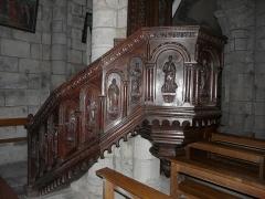 Eglise Saint-Jacques-le-Majeur - Détail de la chaire de l'église Saint-Jacques-le-Majeur, Lanobre, Cantal, France.