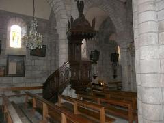 Eglise Saint-Jacques-le-Majeur - La chaire de l'église Saint-Jacques-le-Majeur, Lanobre, Cantal, France.