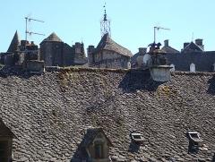 Beffroi appelé aussi Tour de l'horloge -  Toîts de lauze à Salers (Cantal).