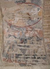 Eglise Notre-Dame et croix de pierre -  église de Vals (Ariège, France) - Fresque romane (XIIe siècle) représentant le christ en majesté, ainsi que 4 archanges avocats. Présence de l'Ange de Saint-Matthieu et le Taureau de Saint-Luc. Fresques Restaurées en 2008.
