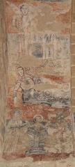 Eglise Notre-Dame et croix de pierre -  Fresque représentant la nativité et le bain de Jésus. En haut: deux anges. Au milieu, la Vierge après l'accouchement. En bas: le bain de l'Enfant.