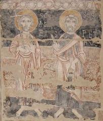 Eglise Notre-Dame et croix de pierre -  Fresques de Vals (Ariège - début du XIIe siècle). Saint André et Saint Pierre.