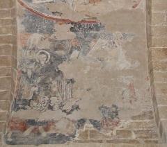Eglise Notre-Dame et croix de pierre -  Fresques de l'église de Vals (Ariège - début du XIIe siècle). Saint Marc (présence du Lion) et Saint Jean (présence de l'Aigle).