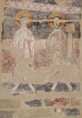 Eglise Notre-Dame et croix de pierre -  Fresques de Vals (Ariège) datant du début du XIIe siècle. Les Apôtres saint Philippe et saint Barthélémy.