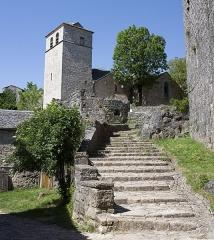 Donjon et les restes du château -  Staircase giving access to the barbican defending the castle door.