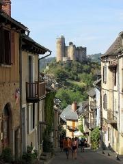 Vestiges du château et sa deuxième enceinte -  Najac (Aveyron, France), vestiges du château et sa deuxième enceinte.