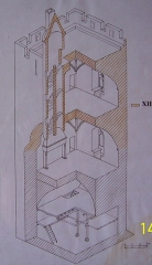 Vestiges du château et sa deuxième enceinte -  Vue en écorché de la tour carrée du château de Najac