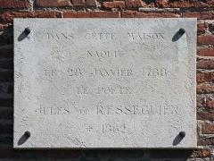 Hôtel dit de Jean de Ulmo - English:  Hôtel d'Ulmo in Toulouse. Plaque commemorating the birth of Jules de Rességuier.