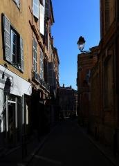 Hôtel de Puivert ou Puyvert - Français:   La rue Bouquières à la hauteur de l\'entrée de l\'hôtel Puivert