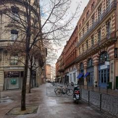 Maison en terre cuite de Virebent - English:  Rue des Marchands in Toulouse. View from rue de Metz, to the place de la Trinité.