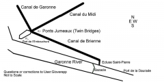 Ponts jumeaux enjambant le canal du Midi et le canal de Brienne - English: A drawing showing the Canal de Brienne, Canal du Midi, Canal du Garonne as they merge together near the Garonne River.  Let me know about any corrections required.  It is NOT to scale.