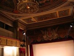 Hôtel de ville - English: Auch, Gers, France: Theatre inside the town hall. Balconies, painted ceiling, chandelier.