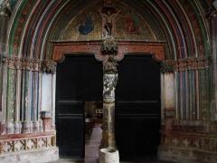 Eglise -  Village de Marciac dans le Gers (France):  Église Notre-Dame de Marciac, portail central après restauration faisant ressortir les couleurs d'origine