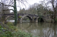Pont sur le Célé - English:  Roman bridge with three arches which pier are protected by three imposing spouts (13th century or early 14th century).