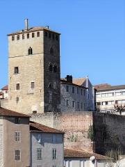 Ancien palais de Via connu sous l'appellation Château du Roi, actuelle prison d'Etat - Français:   La tour et le bâtiment nord au-dessus du mur de soutènement