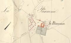 Château de la Pannonie - Deutsch: Lageplan des Schlosses La Pannonie in Couzou auf einem alten Katasterblatt